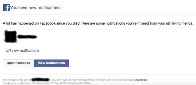 Email to dead Facebook user